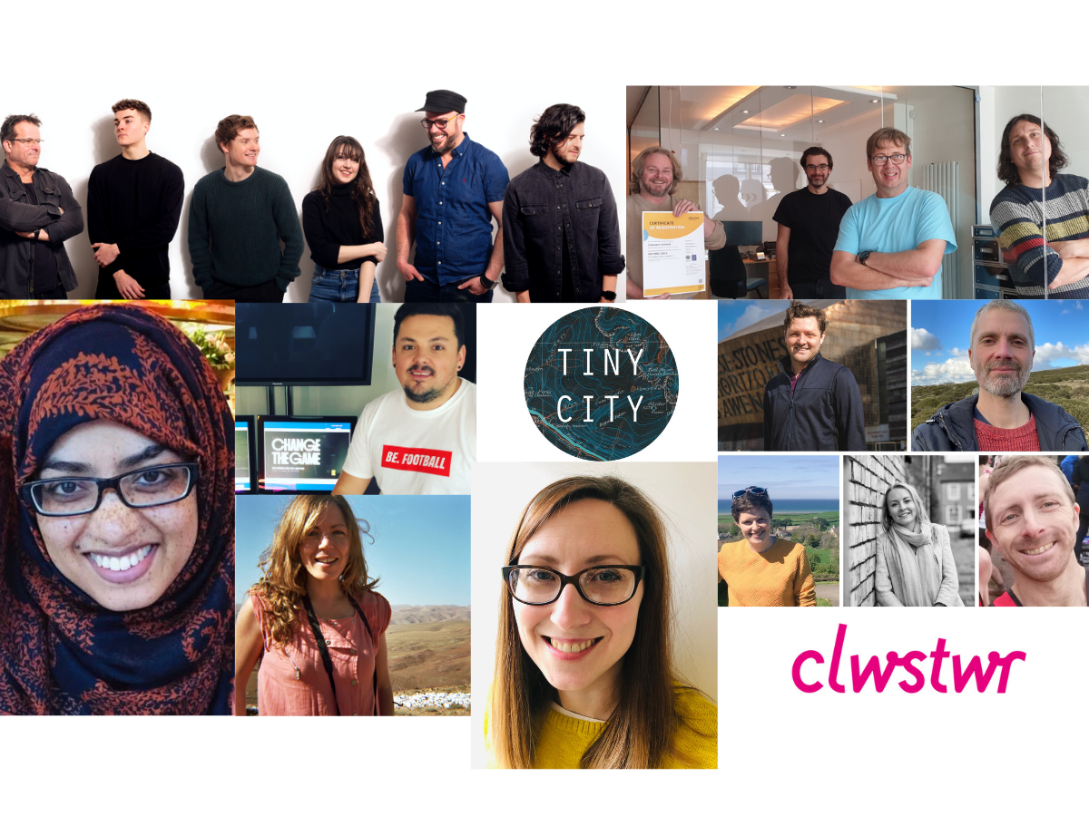Composite image of 2021 seed cohort - headshots of teams from Lab Class, Tantrwm, Little Bird Films, Focus Shift Films, Tiny City (log), Golwg, Salt White, Amy Taylor and the Clwstwr logo